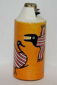 Vintage Table Lighter - Gillette CRICKET - Features Dinosaur Looking Birds, etc
