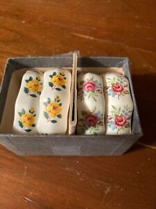 Vintage Shafford Bone China Set of 4 Napkin Rings Pink and Yellow Flowers