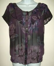 east 5th womens top size m purple floral semi sheer ruffle flowy peasant blouse