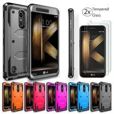 For LG K20 Plus K30 K40 Case Slim Fit Full Body Hard TPU Cover + Tempered Glass