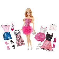 NEW BARBIE PINK PASSPORT DOLL AND FASHION GIFT SET DRESSES SHOES ACCESSORIES