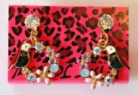 Betsey Johnson Crystal Rhinestone Enamel Stud Earrings Bird Flowers