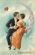c1910 PFB Embossed Postcard 6859 Kissing Couple sits on Crescent Man in the Moon