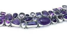 Amethyst sterling silver bracelet - purple cubic zirconia and fresh water pearls