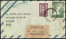 1655 ARGENTINA TO CHILE REGISTERED AIR MAIL COVER 1959 BAHIA BLANCA - SANTIAGO
