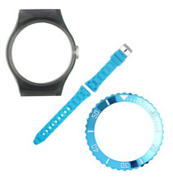 VIBE Large Trans Grey Case, Turquoise Strap & Metal Turquoise Bezel [PACK L108]