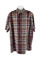 King Size Men's XXL Button Down MulticoloredPlaid Shirt Cotton Short Sleeve
