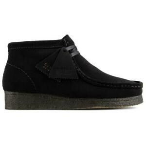 NEW IN BOX! MENS CLARKS Wallabee Boot Black Suede CASUAL 26155517 SIZE 7.5-12