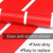 One Set Car Carbon Fiber Red Car Door Sill 3D Scuff Plate Protector Stickers