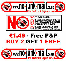 "Official www.no-junk-mail.co.uk "" No Junk Mail Sign / Sticker ""  Id: BRN"