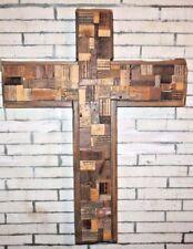 "24""X30"" Reclaimed Rustic Wall Art Religion Cross Wood Sculpture Natural Decor"