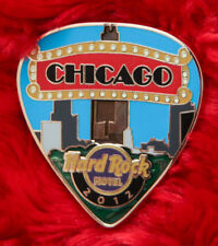 Hard Rock Cafe Pin CHICAGO HOTEL Postcard GUITAR PICK Series marquee facade