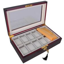 12 Mens Wood Watch Display Case Glass Top Jewelry Collection Storage Box