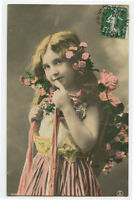 c 1909 Child Children Cute LITTLE GIRL French photo postcard