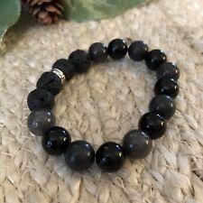 Essential Oil Diffuser Bracelet Jasper With Onyx Beads Lava Stone Aromatherapy