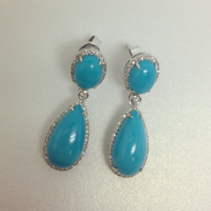 Natural Diamond Big Cabochon Blue Turquoise Drop Earrings 18K White Gold Jewelry