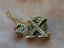 Vintage 10K Gold Chi Omega Sorority Pin w/Seed Pearls & Chapter Guard