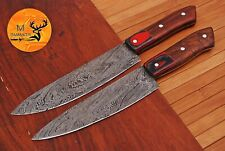 HAND FORGED DAMASCUS STEEL CHEF KITCHEN KNIVES SET WITH WOOD HANDLE - AJ 1597