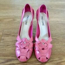 "Beautiful Two Lips Women's Heels 3.5"" Shoes Leather Pink Color US Size 8M Brazil"