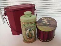 Decorator Metal Tins ~ Lot of 3 ~ Red Lunch Pail Pears Soap Vintage Avon Powder