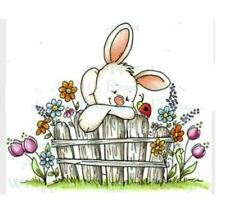 Rabbit talking to a Ladybird on the Garden Fence Craft Stamp (CS 86)