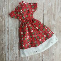 Vintage Barbie Clone / Handmade Day Dress Red Calico Floral White Eyelet MINT