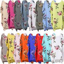 New Ladies Italian Floral Linen Baggy Tunic Top Women Lagenlook Top Plus Sizes
