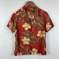 La Cabana Womens Hawaiian Party Shirt Top Size Small Floral Aloha Rayon