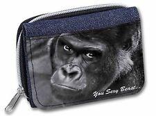 Gorilla 'You Sexy Beast' Girls/Ladies Denim Purse Wallet Christmas Gift, AM-12JW