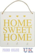 Rustic Wooden Home Sweet Home Hanging Plaque Sign With 3 Key Hooks Organiser