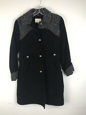 Laundry by Shelli Segal Women's Black Over Coat size 2 Grey Tweed accents