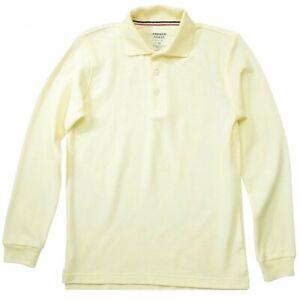 French Toast Boy's Long Sleeve Pique Polo Light Yellow Uniform Shirt