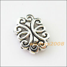 10 New Charm 2-2 Hole Flower Spacer Bar Beads Connector 13.5x18mm Tibetan Silver