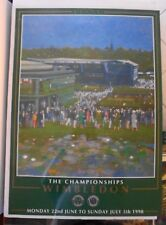 """1998 WIMBLEDON CHAMPIONSHIPS TENNIS POSTER  28"""" x 20"""" + SIGNED FRED STOLLE PHOTO"""
