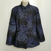 Chicos Womens Jacquard Jacket 2 Blue Black Metallic Floral Mandarin Collar