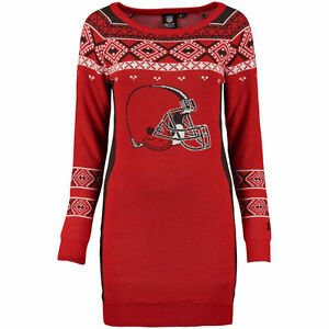"""Cleveland Browns Women's NFL """"Big Logo"""" Ugly Sweater Dress All Sizes FREE SHIP"""