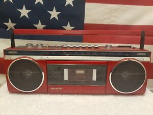 Vintage 1980s Red Sharp QT12 Stereo Radio Cassette Player Boombox Japan AS-IS