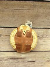 "New Pacific Rim Fishing Jacket Ornament Ceramic 3""x3"" Tag Holiday Christmas"