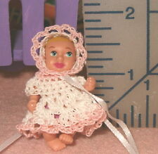 Barbie Baby Doll Dress Handmade Crochet with Bonnet