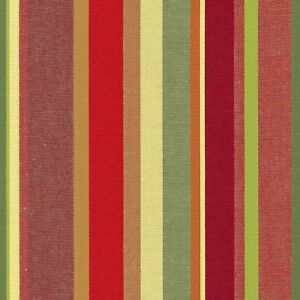 Stripe RUSSET RED GREEN TEAL Home Decor Drapery Upholstery Sewing Fabric BTY