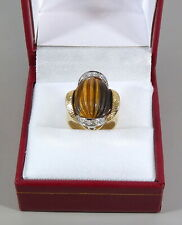 18K YELLOW GOLD TIGER'S EYE AND DIAMOND RING