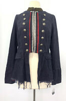 Free People Lucy Military Blue Peplum Jacket Size Small