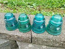 Antique Vintage Hemingray - 42 Aqua Blue & Aqua Green Insulators - Lot of 4