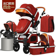 luxury Baby Stroller 3 in 1 High Landscape Pram foldable pushchair & Car Seat