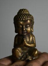 6cm Alter Tibet Buddhismus Bronze Kupfersitz Shakyamuni Amitabha Buddha Statue