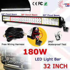 "32"" 180W Flood&Spot LED Light Bar Off road roof Lamp 12v 24v With Free Cables"