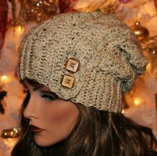 Oatmeal Slouchy Hat with Button Accent Beanie Boho Womens Girls Teens Winter