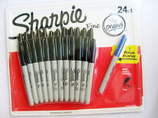 Brand New SHARPIE 24 Pack Black Fine Point Permanent Marker Pen Set + Bonus