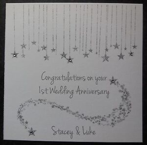 Personalised Handmade Wedding Anniversary Card - 1st 2nd 3rd 10th 15th -ANY YEAR