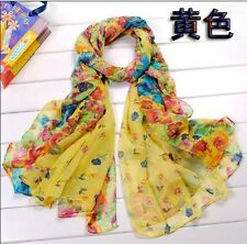 Fashion Women's  Beautiful Rural Style Flower Long Silk Scarf Shawl